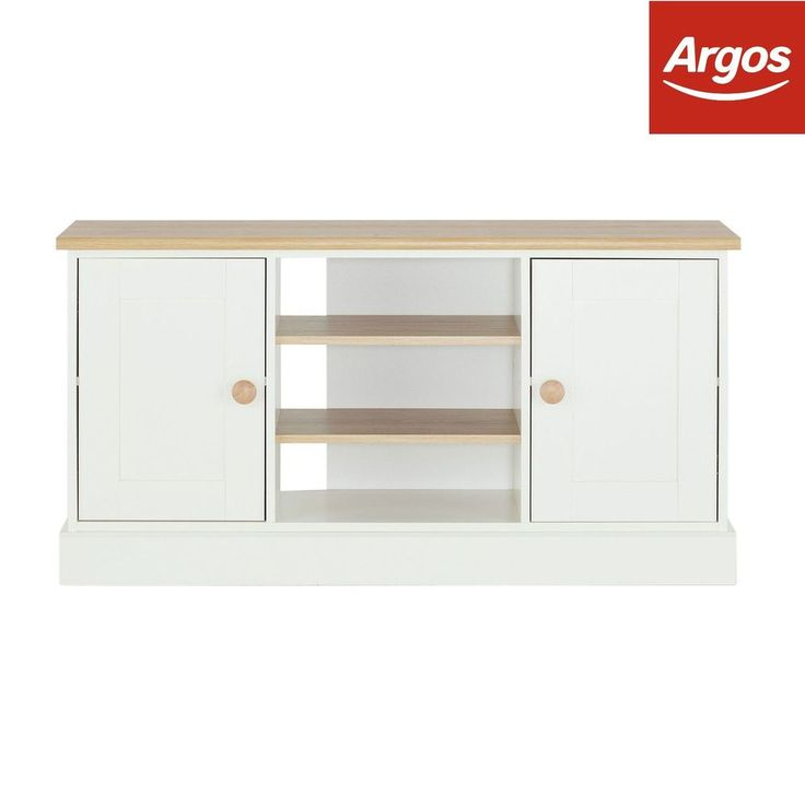 The Collection Winchester Tall Sideboard/TV Unit - Soft White and Oak :Argos  | eBay