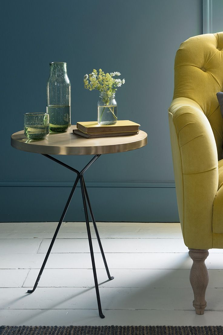 QUID SIDE TABLE side table, gold table, brass, bronze, gold, metallic, metal, metal table, bedside table, blue sofa, green vase, vases, floral, greenery, new side table, robust side tables, metal side table, living room, sitting room, sofa, blue sofa, bedroom, rug, beige rug, taupe rug, taupe, cream, neutral, white, design, interiors, homeware, furniture, interior design, decor, yellow, burnt yellow, sunshine yellow, bumblebee
