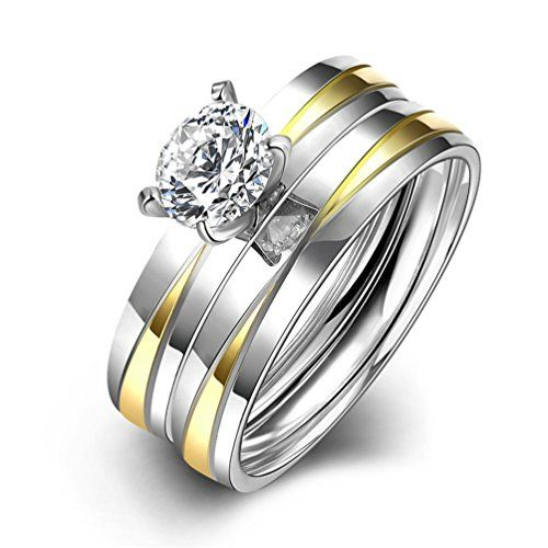 * Penny Deals * - HMILYDYK Stainless Steel Couple Rings 2 Pcs A Set Cubic Zirconia Crystal Eternity Wedding Band Size 6 - 9 ** Click on the image for additional details.