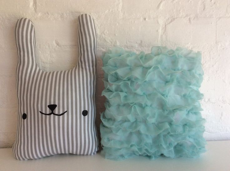 Bunny and Ruffle Pillows by Poprikot on Etsy