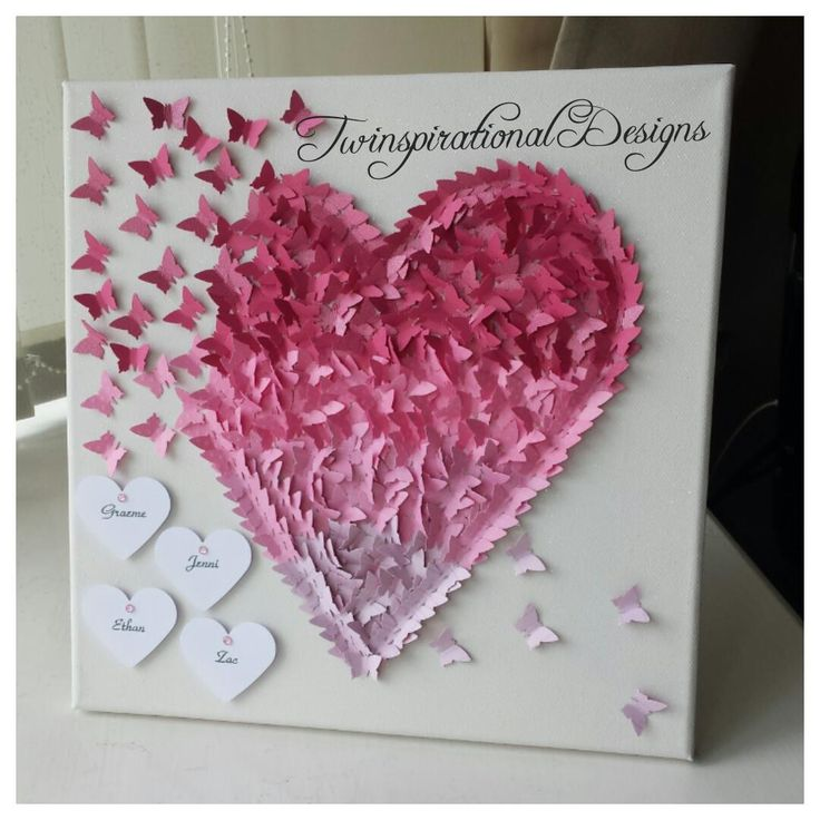 Stunning Personalised Butterfly Heart canvas.