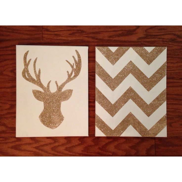 diy glitter chevron & deer head on canvas // inspired by laurDIY .