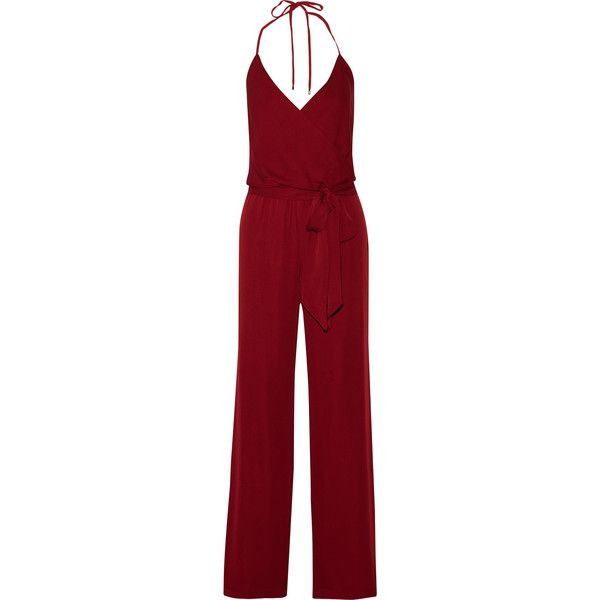 Haute Hippie Wrap-effect silk-georgette jumpsuit ($281) ❤ liked on Polyvore featuring jumpsuits, jumpsuit, claret, open back jumpsuit, haute hippie, jumpsuits & rompers, wrap jumpsuit and jump suit