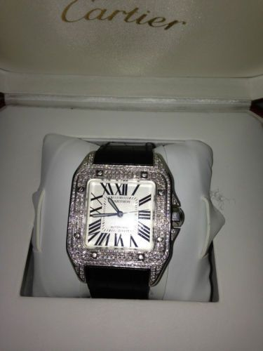 Diamond Cartier Santos 100 XL Fully Loaded Box & Papers Automatic