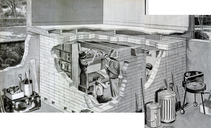 In 1961, LIFE extolled the benefits of building a basement bomb shelter out of pre-cast concrete blocks. Estimated materials cost not to exceed $200.  It estimated that radiation within the shelter would be about 1% of radiation outside. As a final warning, the article mentioned that, if a nuclear warhead hit within 10-15 miles, the house might be blown down onto the shelter and catch fire. LIFE Sep 15, 1961