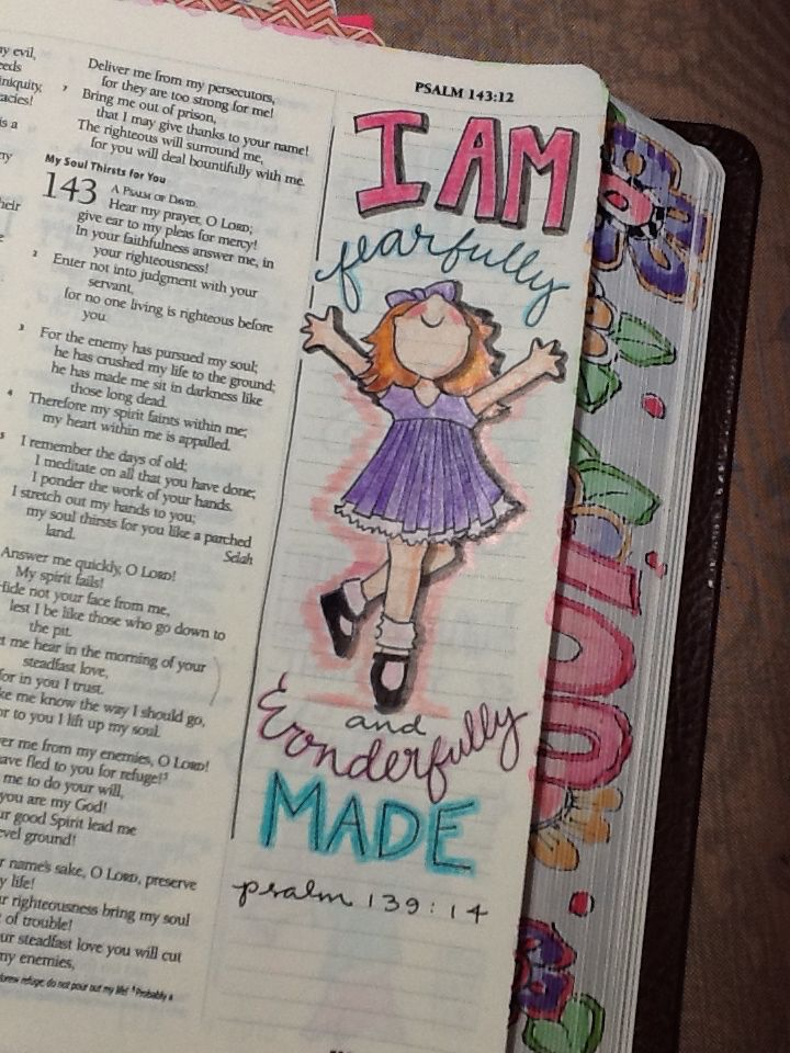 "Ps 139:14 - ""Wonderfully Made"" - Bible Journaling by Nola Pierce Chandler"