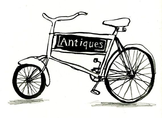 Antiques Bicycle Giclee Print by SarahDouglasArt on Etsy