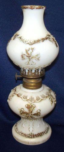 Old 1894 Mini Miniature Maltese Cross Milk Glass Oil Lamp w Matching Shade | eBay