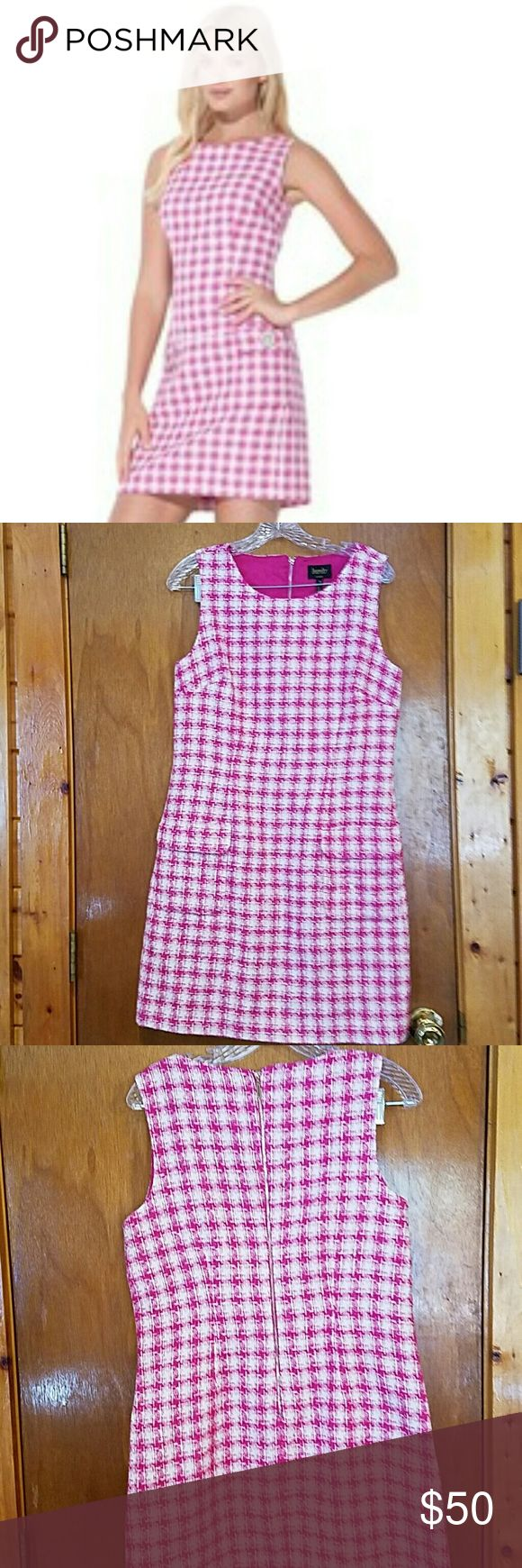 Laundry Shelli Segal Pink Houndstooth Dress Beautiful metallic pink and white dress. The metallic thread makes the dress shimmer in the light. This is the perfect dress for a bridal or baby shower. Excellent condition, smoke free home. Laundry by Shelli Segal Dresses