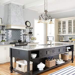 Household Ideas Clever design details in this kitchen celebrate traditional style and incorporate concepts found in other areas of the home. The cooking area resembles a cozy family room hearth with its bricklike tile backsplash and chimney-inspired range hood. The long kitchen island is reminiscent of a rambling farmhouse table.