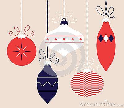 Christmas balls hanging on. Vector Illustration