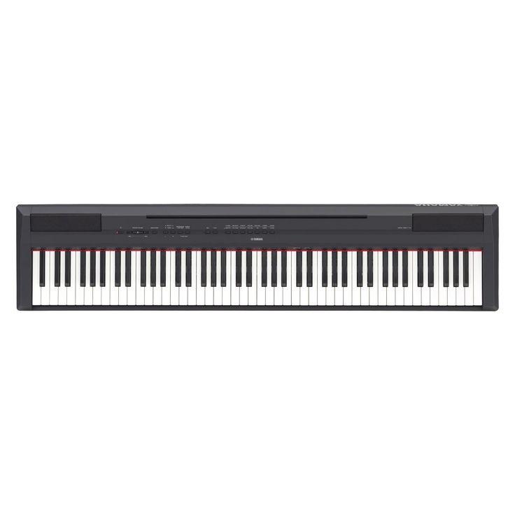 Pianoforte digitale Yamaha P115B Piano Yamaha ad 88 tasti pesati, compatto e dal design moderno e l'ottimo suono. 14 pattern ritmici. Splendido riverbero ed ottima selezione di suoni diversi, di elevata qualità. Possibilità di utilizzare stili d'accompagnamento. Uscita audio e cuffie ed USB to host. Accessori inclusi: leggio, pedale, alimentatore PA-150