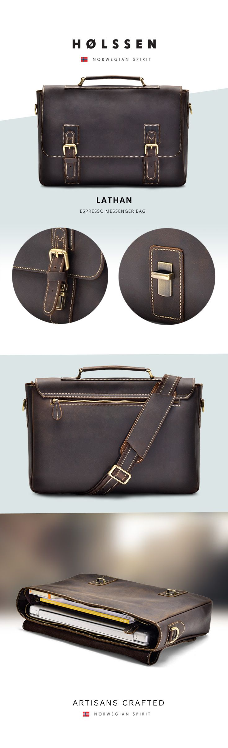 "Leather briefcase messenger bag perfect for work, daily use, or school. Has a laptop compartment and fits a 15"" laptop."