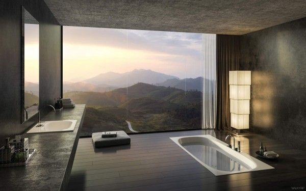The simplicity of this bathroom is the perfect contrast to the stunning views. By sinking the tub into the floor, the designer allows the bather to feel as if they are washing off in the still waters of a lake.