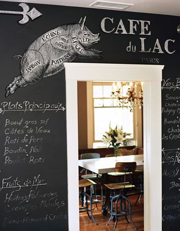 a chalk board in the kitchen of tyler florence with pig drawing  Tyler Florence color scheme and EVERYTHING about his kitchen. YES