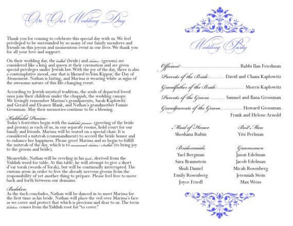 Custom Printable Jewish Wedding Program By Valie520 On Etsy 6000