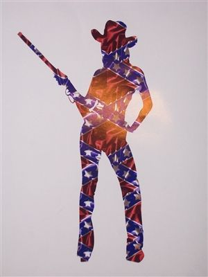 REBEL FLAG Cow girl Sexy Silhouette window Decal