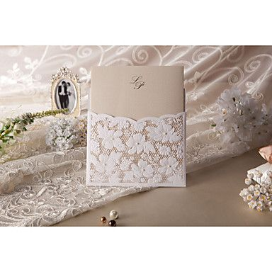 Elegant Linen Pocket Floral Embossed Square Wedding Invitations, 100 pcs/lot