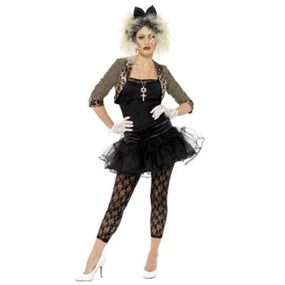 This 1980s Wild Child Madonna fancy dress costume Includes jacket, top, tutu, leggings, gloves and headband. Wig not included