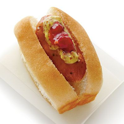 Andouille Mini Dogs.  Smokies are always a big hit at parties, so turn it up a notch by adding a bun and a dab of mustard and relish to make mini hot dogs.