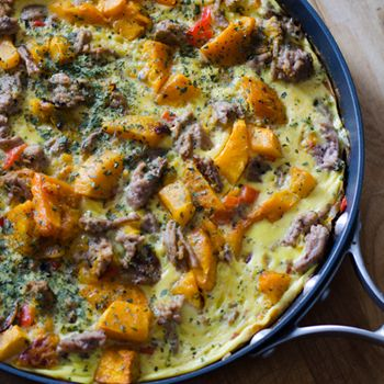 Sausage and butternut squash frittata is a perfect #paleo breakfast, lunch or dinner. Click for recipe.