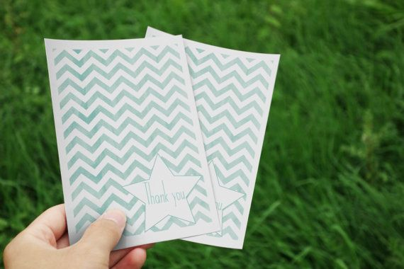 Personalised Thank you/Birthday card  Chevron by ErivaDesign