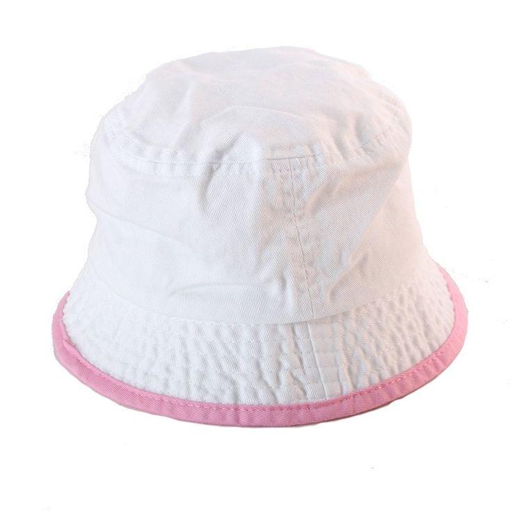 Sun hat- White w Pink Binding - Hats, Caps & Beanies - Baby Belle
