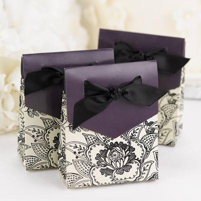 Floral Purple Ivory Black Eggplant Party Favor Boxes (Set of 25)Eggplants, Floral Prints, Wedding Favors, Floral Favors, Parties Favors, Favor Boxes, Favors Boxes, Black Floral, Floral Pattern