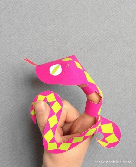 Marionetas del dedo para imprimir | Muñecos serpiente - Mr Imprimibles