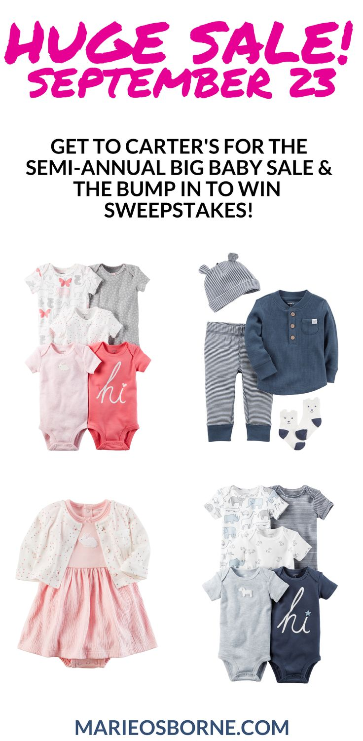 Since your kids won't let you sleep in anyway, why not run to Carter's this Saturday for the Semi-Annual Big Baby Sale and the Bump In To Win Sweepstakes!