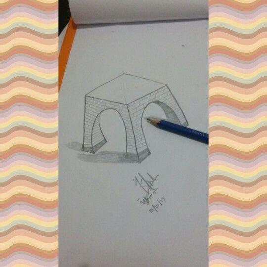 3D art building, sketch of illusion