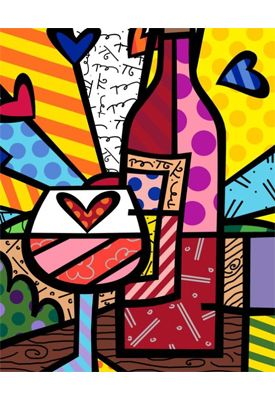 FOOD & WINE giclée on canvas by Romero Britto (unframed) $350