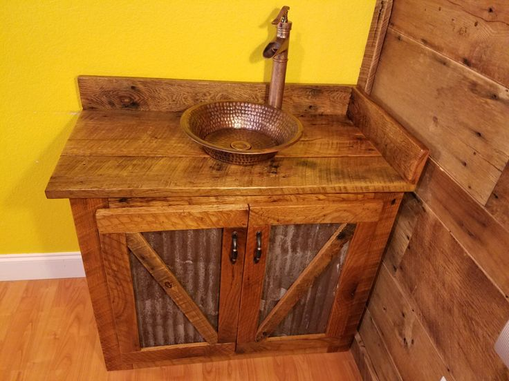 Rustic Barn Wood And Weathered Tin Vanity With Hammered Copper Vessel Sink  + Faucet This Vanity