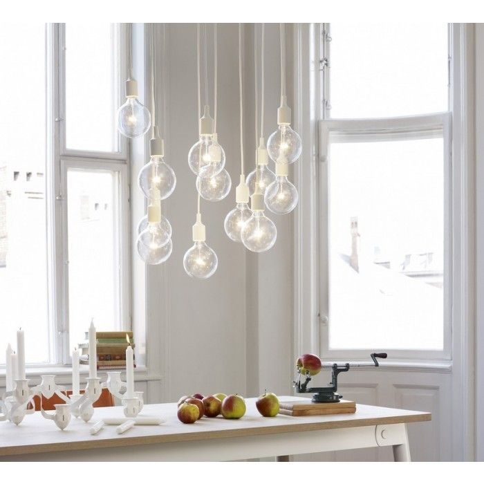 MUUTO E27 Socket Lamp Light Yellow  --- E27 Socket Lamp - Halogen, by Muuto and designed by Mattias Stahlbom, can be used as a single light source, in pairs, rows or even in clusters to create a modern Scandinavian chandelier.