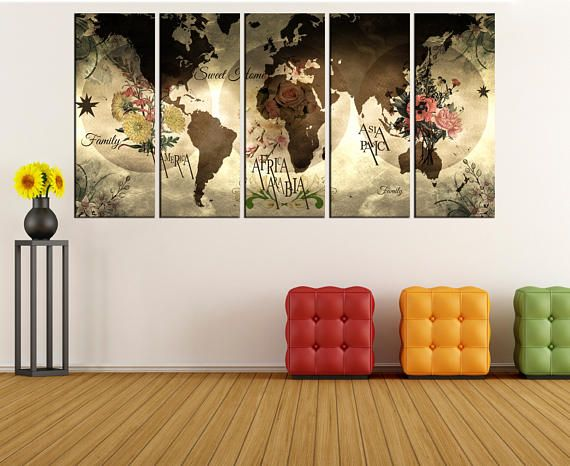 Canvas prints add a unique touch to your home. Modern, stylish and unique design will be the most special piece of your decor. Especially for those who like abstract works, black and white acrylic painting can be prepared in desired sizes  Large rustic world map canvas wall art print, Map Canvas Print, extra large wall art canvas print, floral world map No:hr2  i designed the watercolor map on photoshop. you will receive high resulation canvas print   ◆ GALLERY WRAPPED CANVASES We print high…