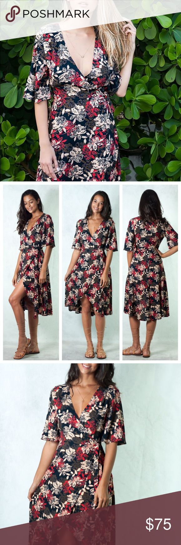 'Love Me So' Wrap Dress Wrap it around and be ready for any occasion. Flattering Silhouette, that will make you feel comfortable, effortless and sexy.    •Wrap midi dress •A cut in bottom front •Short semi wide sleeves •Plunging v-neckline •Same print attached sash •Relaxed fit •Unlined   Model Stats Model is US size 2 / Small [wearing Small] Height: 5'9 / Bust: 34B / Waist: 25 / Hips: 37 Dresses Midi
