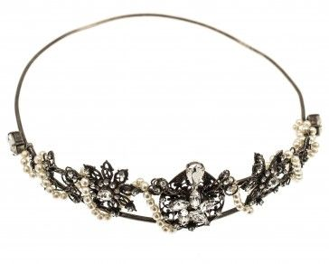 Antique metal plated tiara with Swarovski pearls and crystals, by Art Wear Dimitriadis -Handmade-