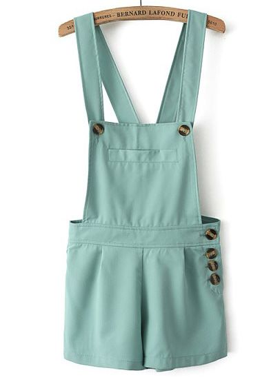 So cute!!! I want it! Green Strap Pocket Buttons Jumpsuit