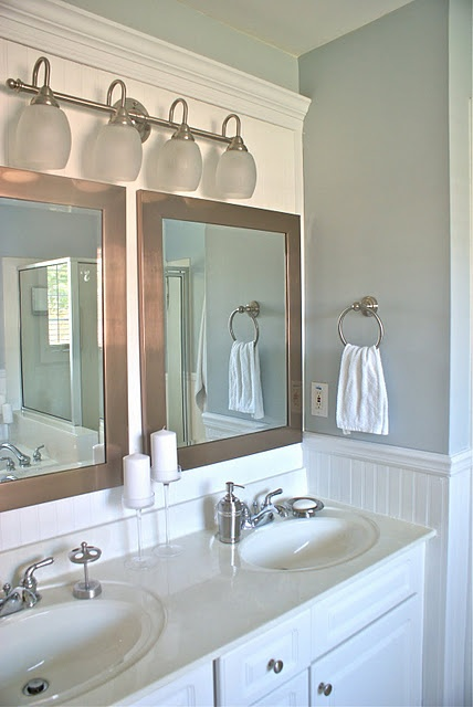 17 best images about bathroom with bead board on pinterest for Master bathroom vanity lights