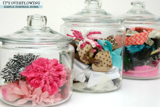 Swap out your cookies and snacks for hair ties and bows. The transparent exterior means you can see all of the different colors and patterns even before you lift the lid. See more at It's Overflowing »