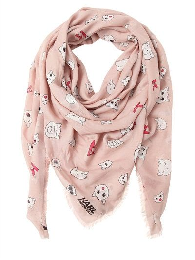 KARL LAGERFELD - CHOUPETTE PRINTED MODAL & SILK SCARF - SCARVES & WRAPS - LIGHT PINK - LUISAVIAROMA - Width: 140cm Length: 140cm . All over print placement may vary slightly