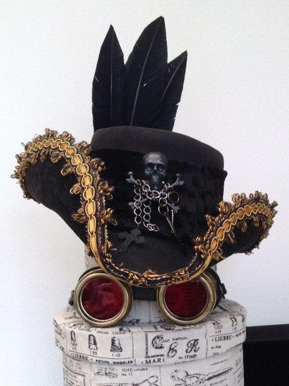 Black Leather Steampunk Tricorn Captain Ahab