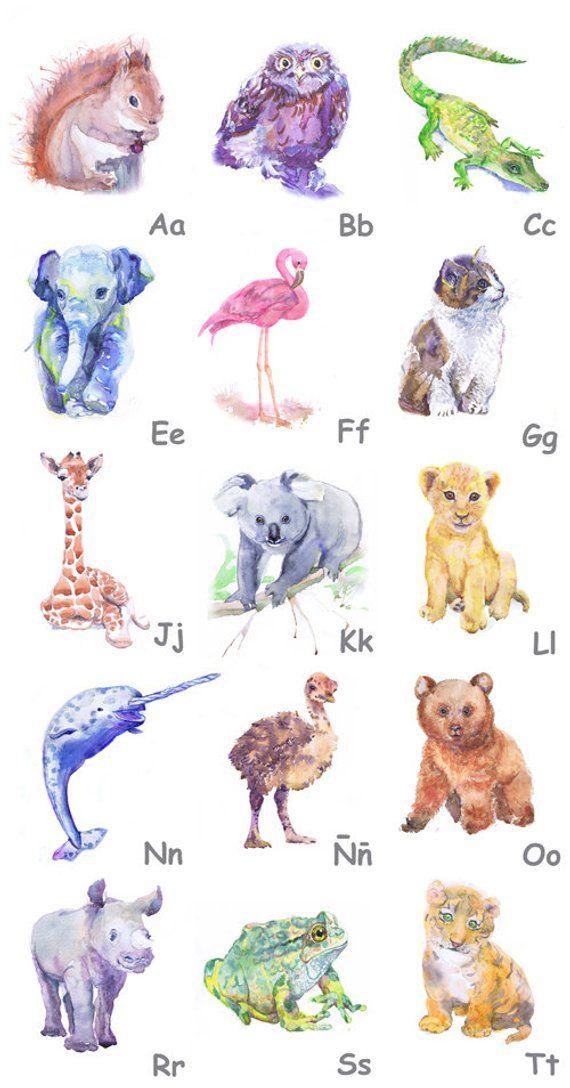 Spanish Alphabet Letters Alfabeto Abc A Z Poster Baby Animals Etsy Zhivotnye Risunki Alfavit