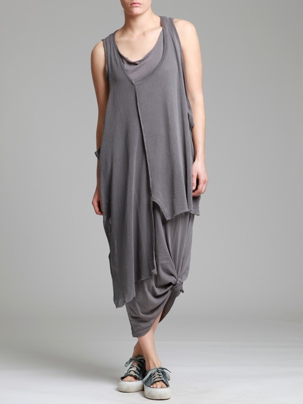 AGED COTTON MAXI T-SHIRT WITH MESH FABRIC - JACKETS, JUMPSUITS, DRESSES, TROUSERS, SKIRTS, JERSEY, KNITWEAR, ACCESORIES - Woman - Syngman Cucala & Lurdes Bergada - Shop Online