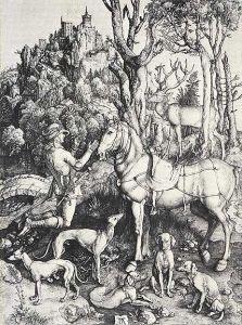 Albrecht Durer -- St. Eustace, Italian Greyhounds