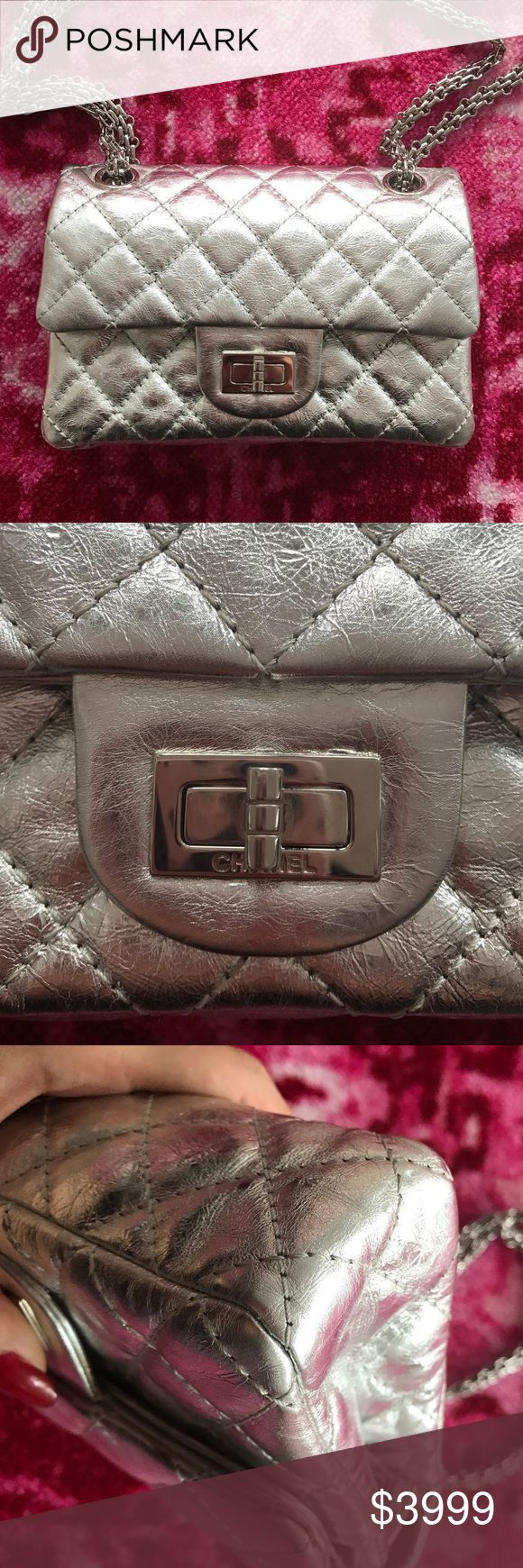 new Authentic Chanel double flap metallic Silver The bag is new, never used!! Rare. Reissue 2.55 double flap bag size 224.  I also have Chanel Reissue,classic double flap bag, Chloe Drew/Faye bags, Bulgari serpenti forever, moschino biker, Louis Vuitton speedy ,papillion for sale in my closet. Check my closet, Bundle for discount! CHANEL Bags Crossbody Bags