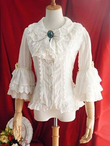 Сладкая Лолита рубашка Luthien под Утренняя звезда серебряные полосы шифон оборками колокол рукав белый Лолита блузка