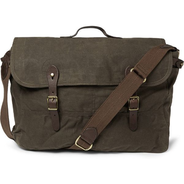 J.Crew Abingdon Waxed Cotton-Canvas and Leather Messenger Bag ($100) ❤ liked on Polyvore featuring men's fashion, men's bags, men's messenger bags, bags, green, mens leather messenger bag, mens canvas messenger bags and j crew mens messenger bag
