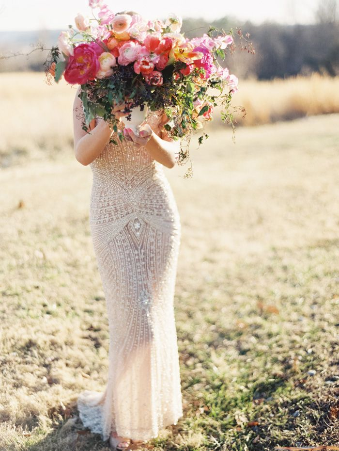big, beautiful blooms and a stunning beaded dress