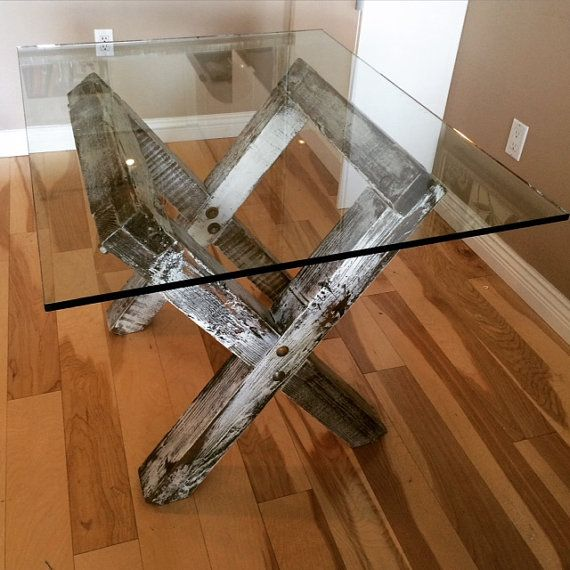 Reclaimed Trestle Base Dining Table with Glass by JSReclaimedWood